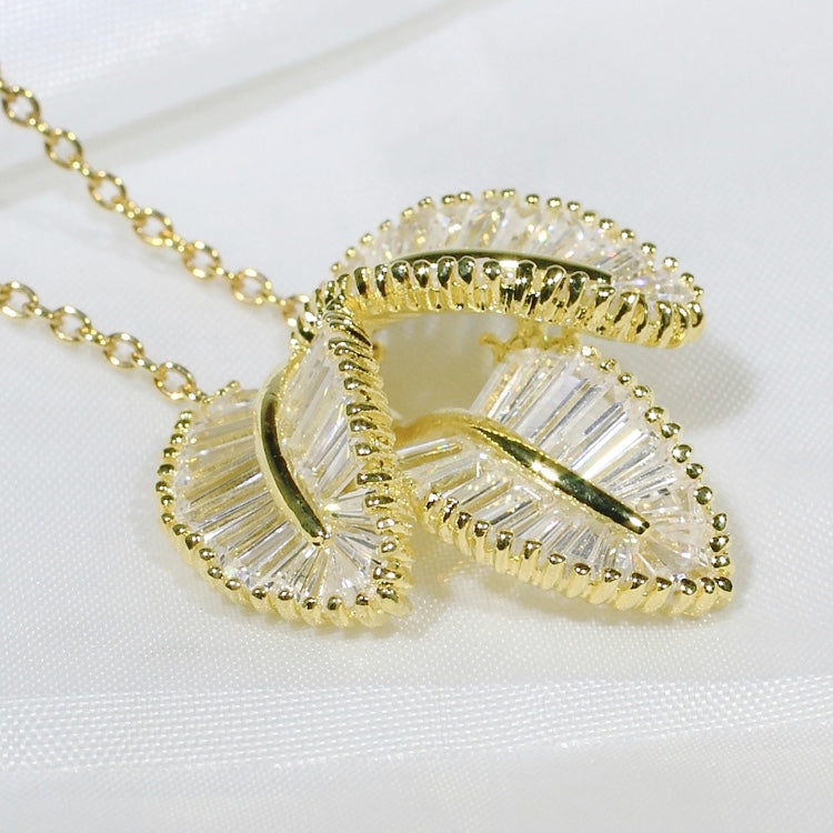 ID: P1286 Women 18K Yellow Gold GF Shining Clear Baguette Stones Unique Design Three Leaves Pendant Fashion Engagement Jewelry