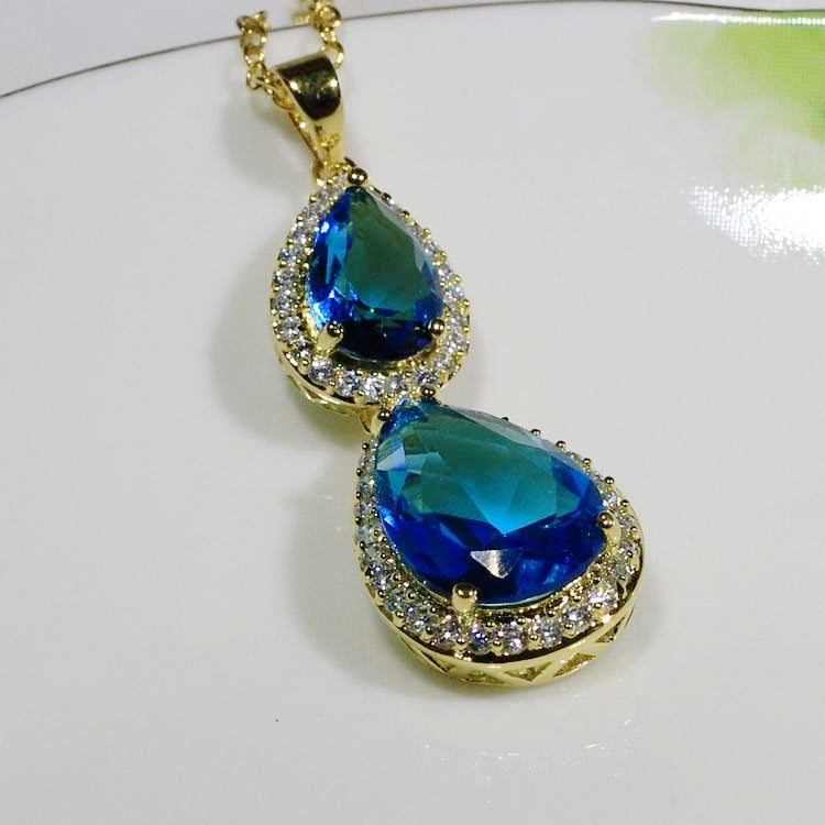 ID: P1384 Women 18K Yellow Gold GF Sapphire and Clear Stones Dangle Pendant Fashion Anniversary Party Jewelry