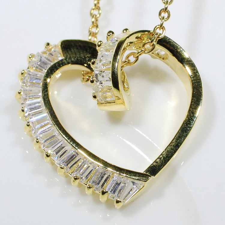 ID: P1902 Women 18K Yellow Gold GF Shining Clear Stones Love Heart Pendant Fashion Engagement Wedding Party Jewelry