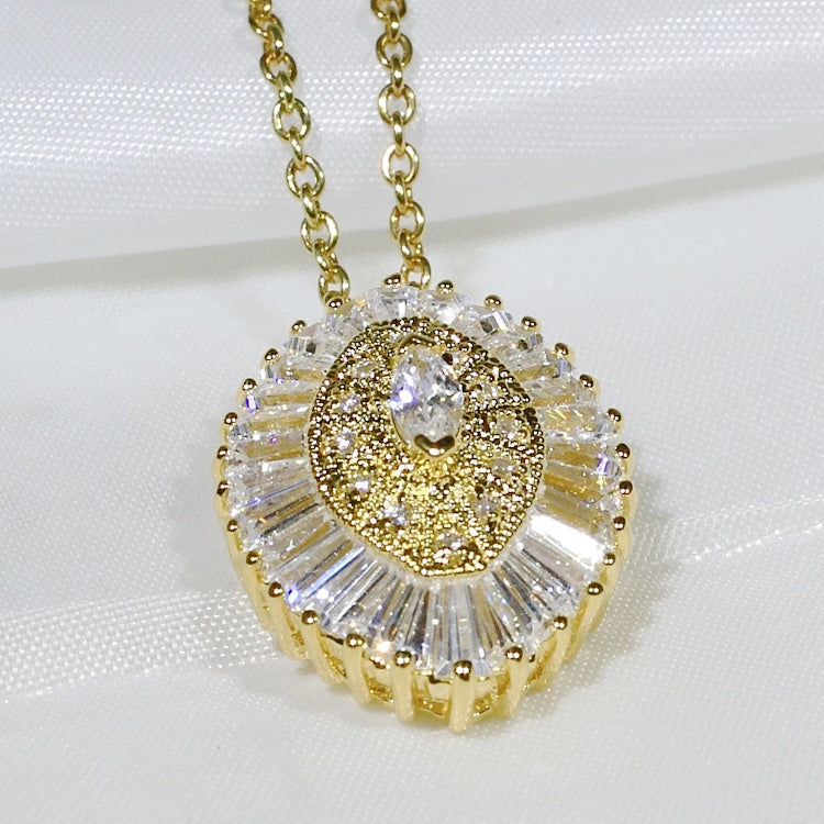 ID: P2000 Women 18K Yellow Gold GF Shining Clear Stones Pendant Fashion Anniversary Wedding Party Jewelry