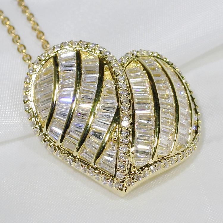 ID: P2010 Women 18K Yellow Gold GF Shining Clear Stones Luxury Heart Pendant Fashion Engagement Wedding Party Jewelry