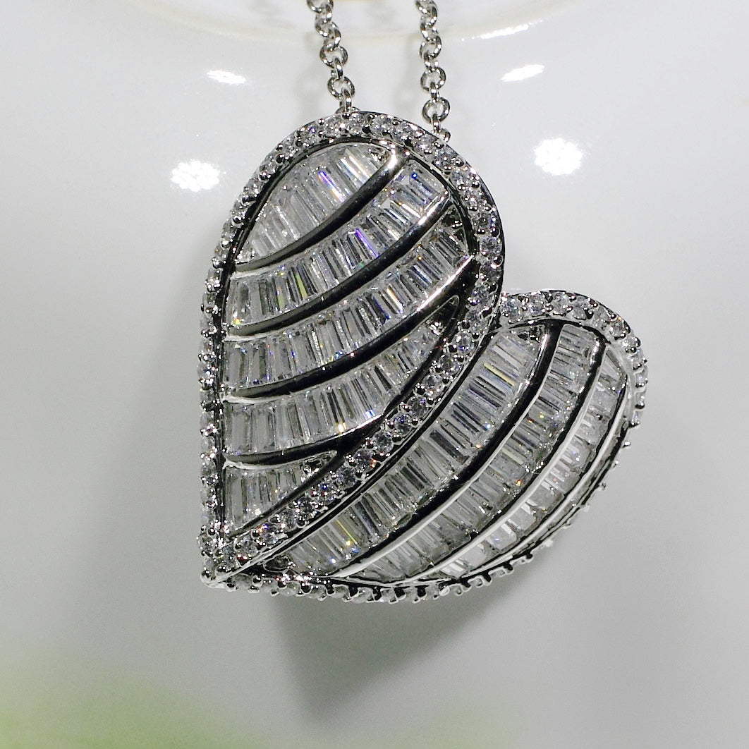ID: P2010 Women 18K White Gold GF Shining Clear Stones Luxury Heart Pendant Fashion Engagement Wedding Party Jewelry