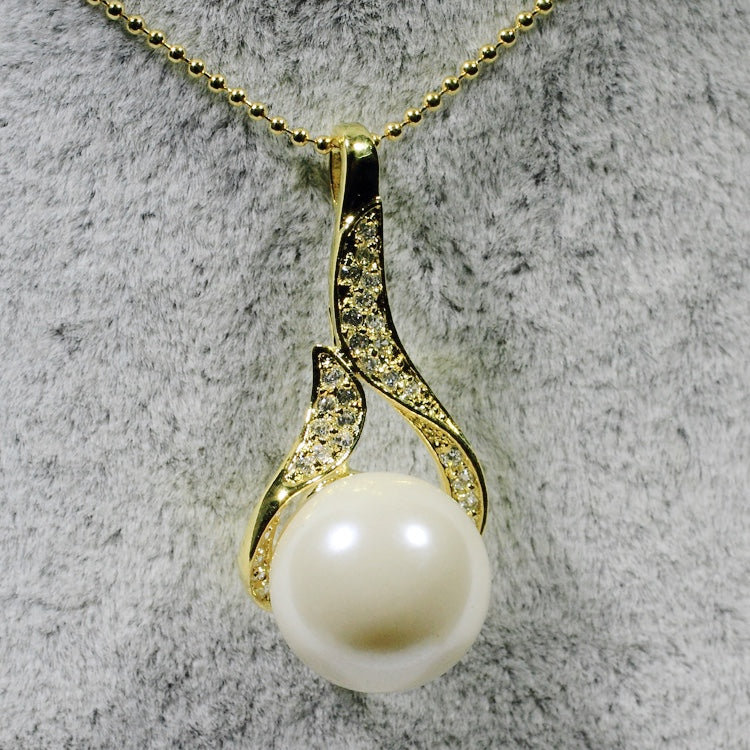ID: P2131 Women 18K Yellow Gold GF Pearl and Clear Stones Pendant Fashion Anniversary Wedding Party Jewelry
