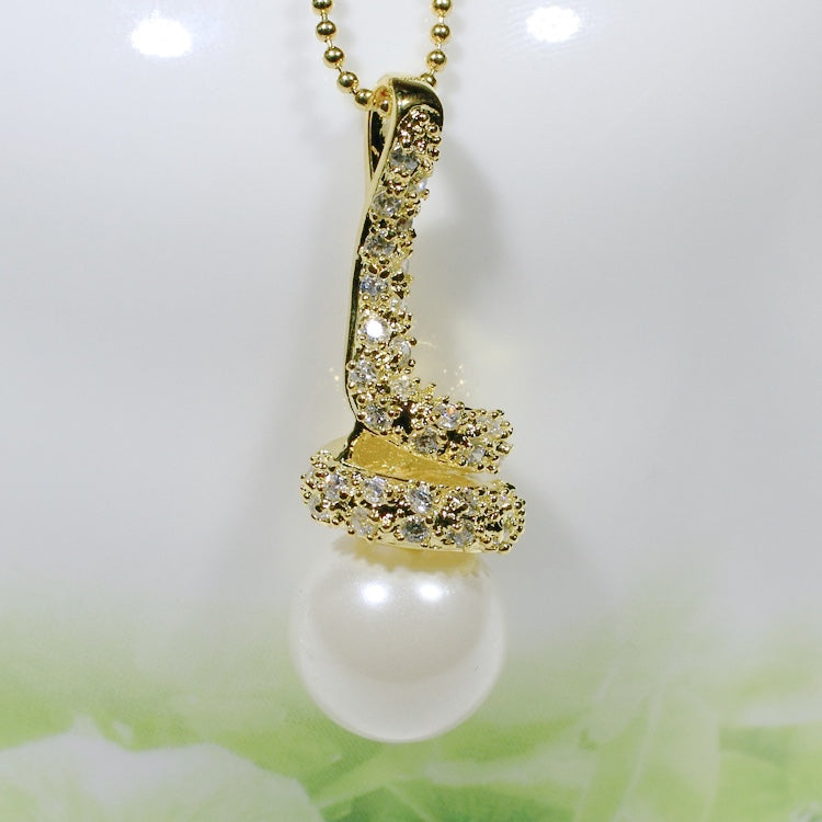 ID: P2149 Women 18K Yellow Gold GF Pearl and Clear Stones Pendant Fashion Anniversary Wedding Party Jewelry