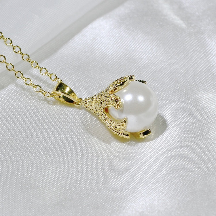 ID: P2393 Women 18K Yellow Gold GF Pearl and Clear Stones Pendant Fashion Anniversary Party Jewelry