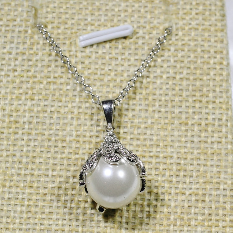 ID: P2393 Women 18K White Gold GF Pearl and Clear Stones Pendant Fashion Anniversary Party Jewelry