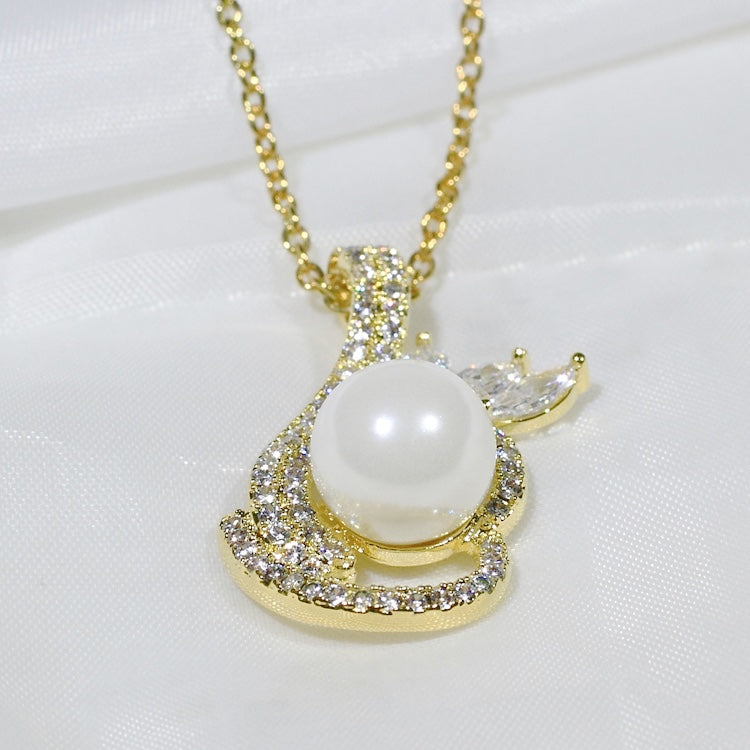 ID: P2548 Women 18K Yellow Gold GF Pearl and Clear Stones Dangle Pendant Fashion Wedding Party Luxury Jewelry
