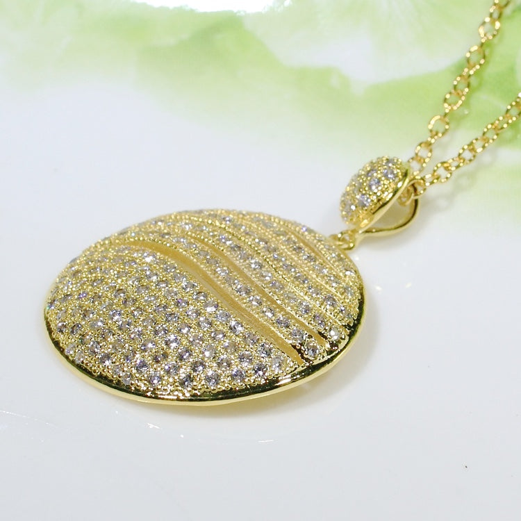 ID: P2660 Women 18K Yellow Gold GF Shining Clear Stones Eternity Pendant Fashion Lady Wedding Party Jewelry