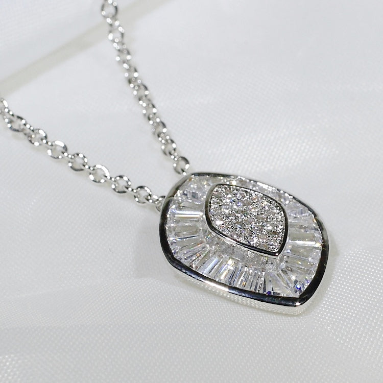 ID: P2670 Women 18K White Gold GF Shining Clear Stones Eternity Pendant Fashion Lady Anniversary Party Jewelry