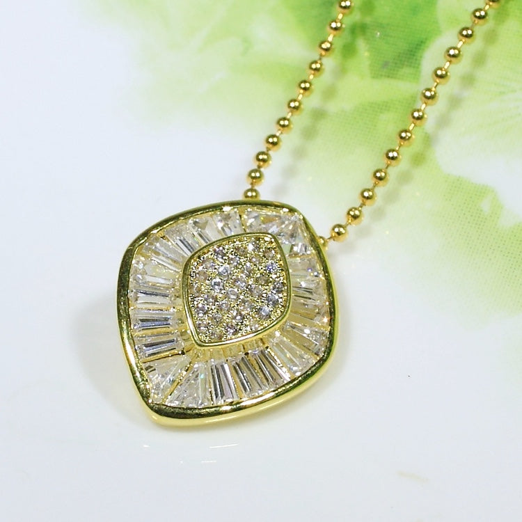 ID: P2670 Women 18K Yellow Gold GF Shining Clear Stones Eternity Pendant Fashion Lady Anniversary Party Jewelry