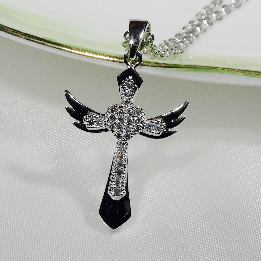 ID: P2821 Women 18K White Gold GF Clear Stones Angel Wings Cross Pendant Fashion Lady Anniversary Jewelry