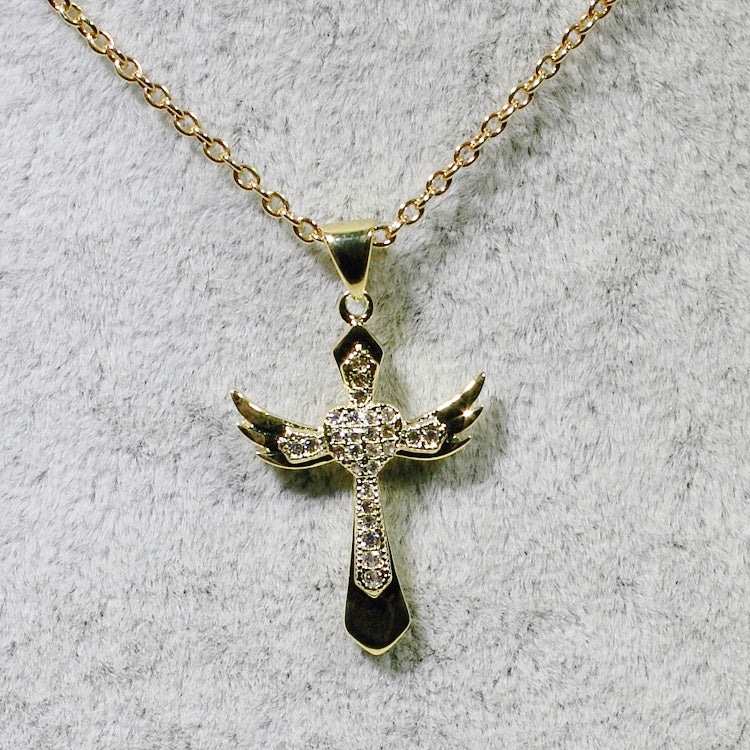 ID: P2821 Women 18K Yellow Gold GF Clear Stones Angel Wings Cross Pendant Fashion Lady Anniversary Jewelry