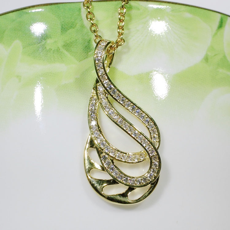 ID: P2992A Women 18K Yellow Gold GF Clear Stones Dangle Pendant Fashion Lady Anniversary Jewelry Great Gift