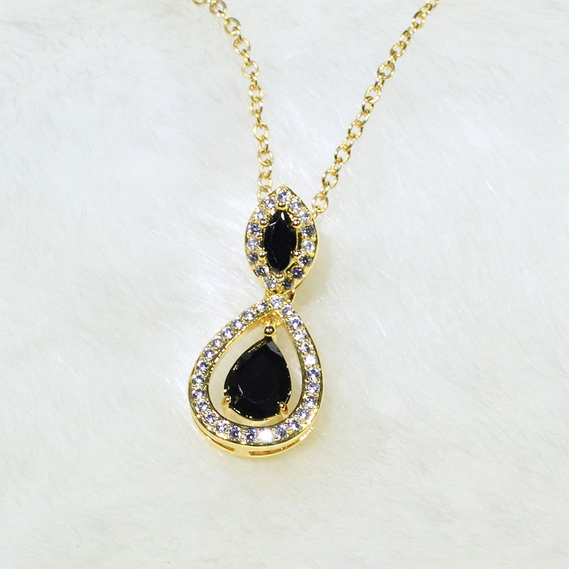 ID: P3069 Women 18K Yellow Gold GF Black and Clear Stones Dangle Pendant Fashion Lady Anniversary Party Jewelry Great Gift