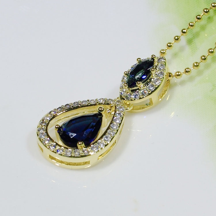 ID: P3069-1 Women 18K Yellow Gold GF Sapphire and Clear Stones Dangle Pendant Fashion Lady Anniversary Party Jewelry Great Gift