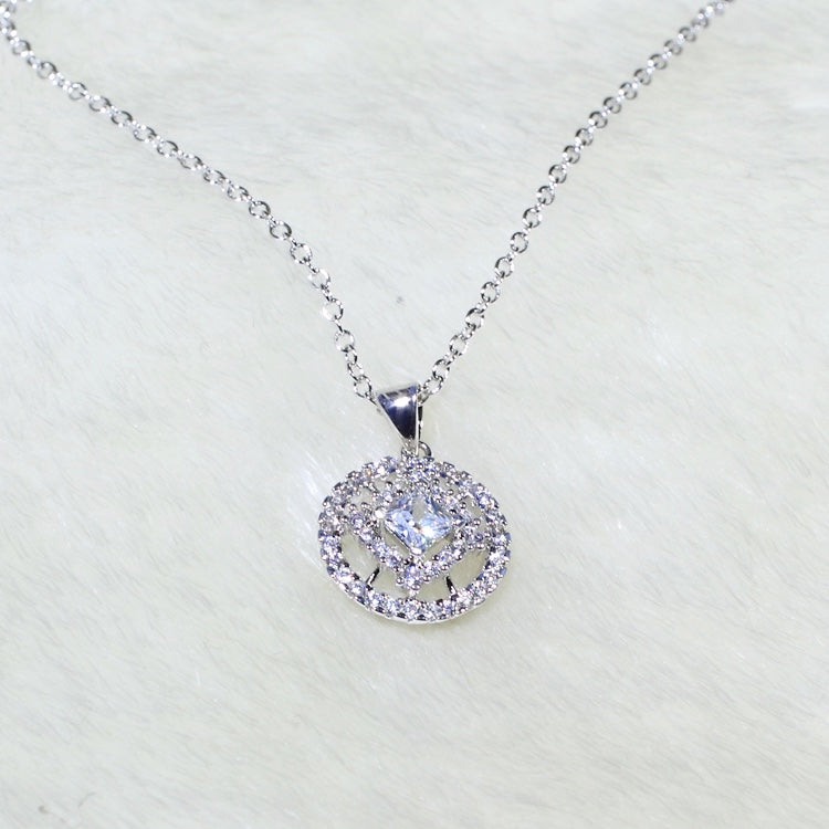 ID: P3135 Women 18K White Gold GF Clear Stones Necklace Pendant Fashion Lady Wedding Party Jewelry Great Gift