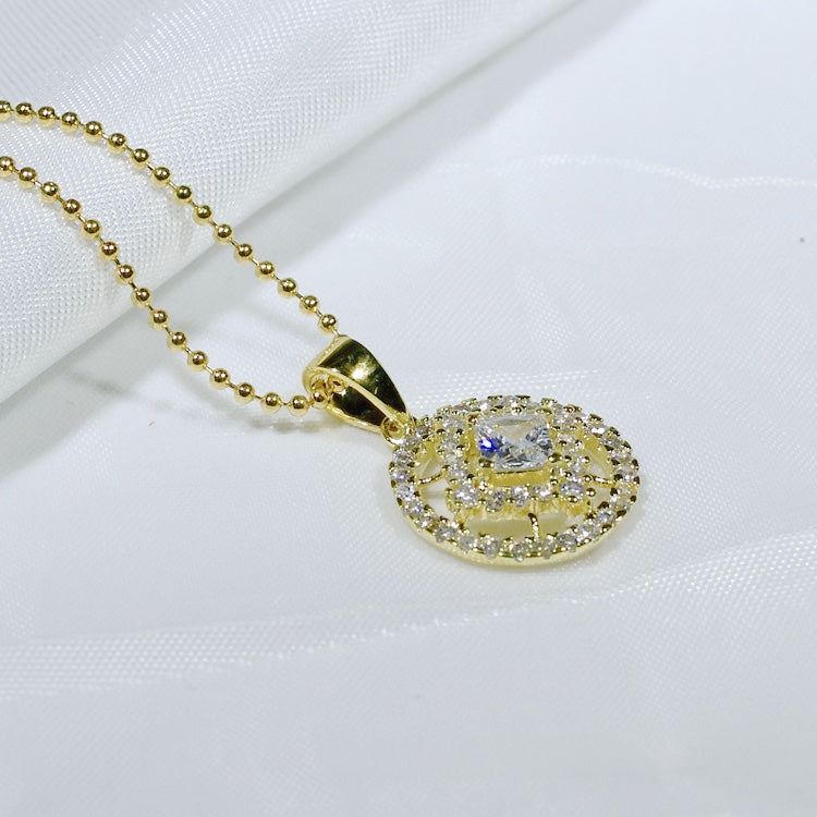 ID: P3135 Women 18K Yellow Gold GF Clear Stones Necklace Pendant Fashion Lady Wedding Party Jewelry Great Gift