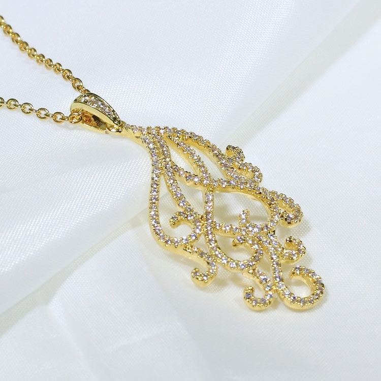 ID: P3220 Women 18K Yellow Gold GF Shining Clear Stones Unique Design Dangle Necklace Pendant Fashion Lady Engagement Wedding Jewelry