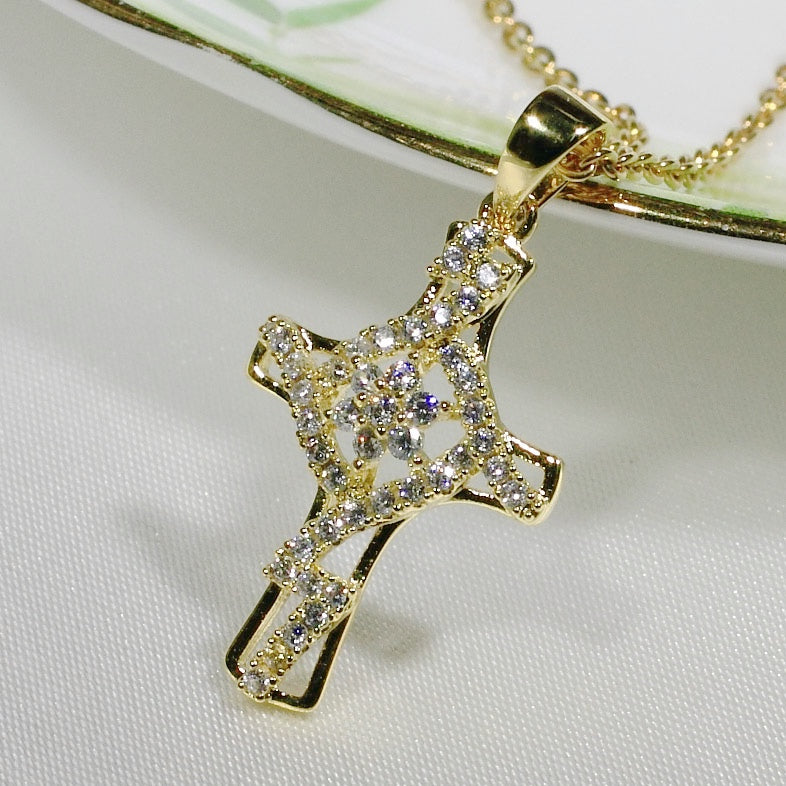 ID: P3226 Women 18K Yellow Gold GF Clear Stones Cross Necklace Pendant Fashion Lady Jewelry Great Gift