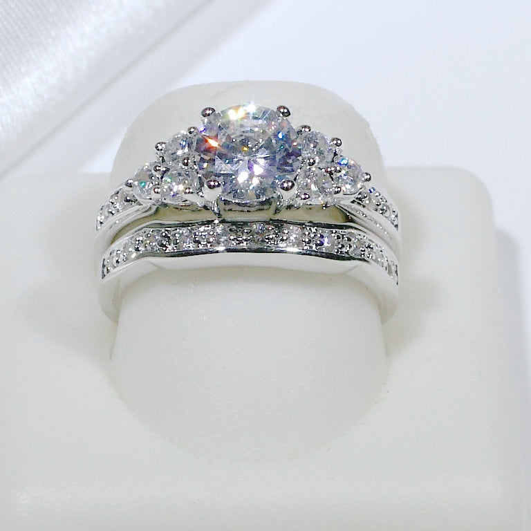 ID:R3603 Women Vintage Jewelry 18K White Gold GF Amazing Engagement Wedding Diamonique Bridal 2pcs/Set Band Ring
