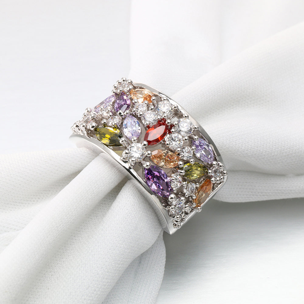 ID:R6939 Women 18K White Gold GF Fashion Jewelry Color Birthstones Anniversary Cocktail Band Ring