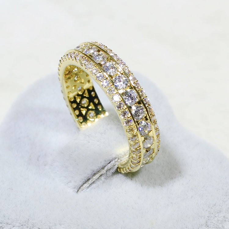 ID:R7084 Women 18K Yellow Gold GF Vintage Jewelry Finely Detailed Engagement Wedding Clear Stone Band Ring