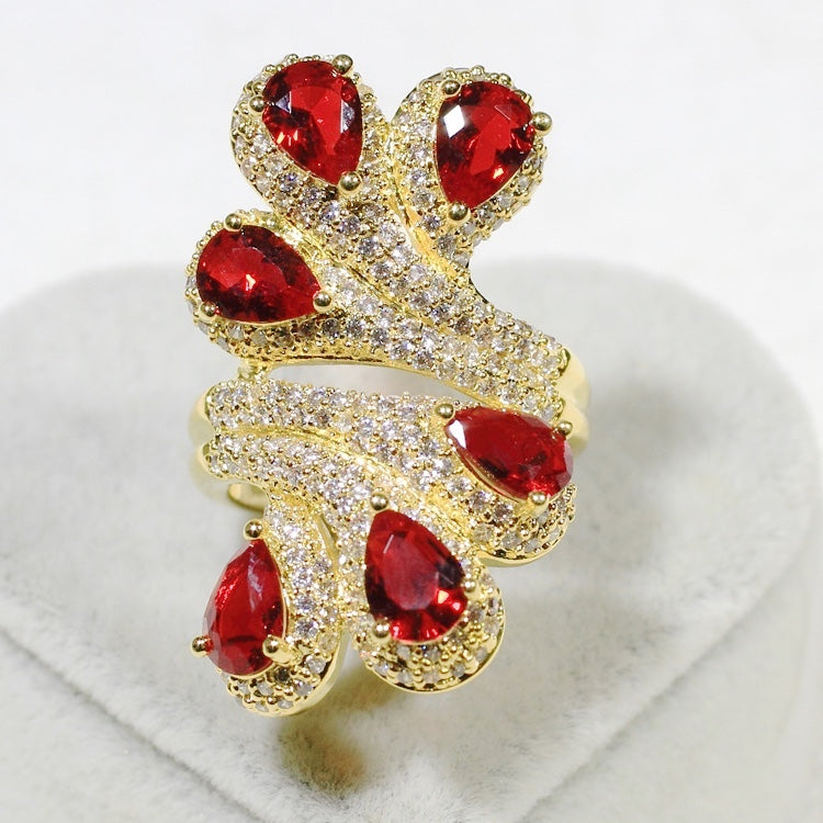 ID:R7123 Women 18K Yellow Gold GF Jewelry Ruby With Clear Stone Accent Peacock Tail Cocktail Ring