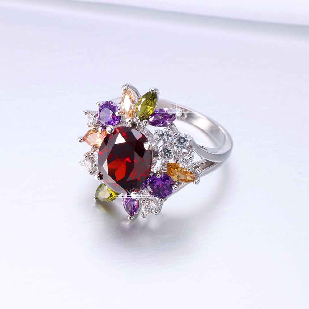 ID:R7178 Women 18K White Gold GF Fashion Jewelry Impressive Multi-Gemstones Cluster Cocktail Ring