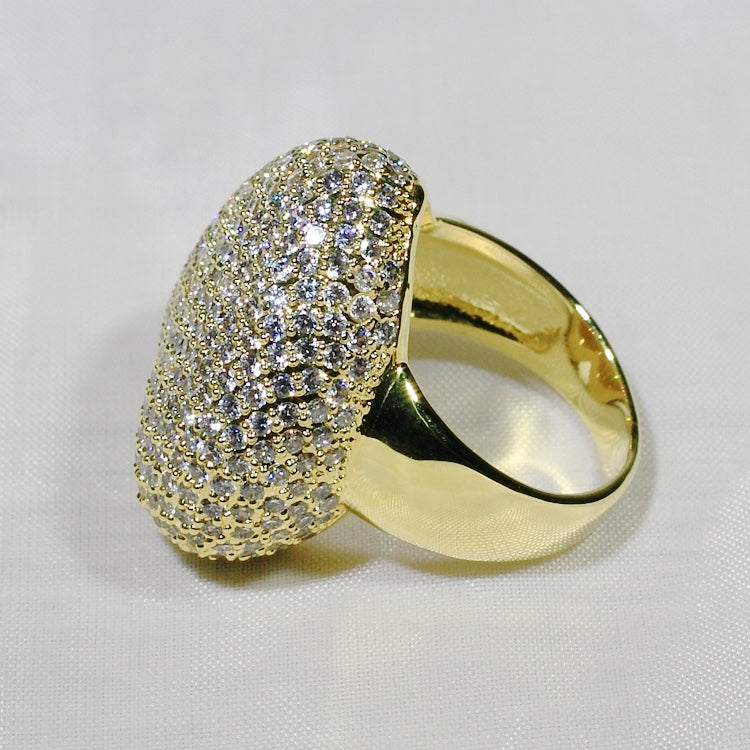 ID:R7461 Women Jewelry 18K Yellow Gold GF Iridescent Clear Stones Unique Love Heart Eternity Ring