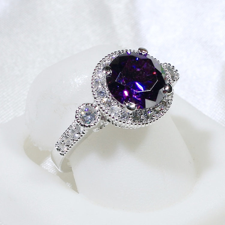 ID:R8008A Women Jewelry 18K White Gold GF Glittering Amethyst Solitaire Ring Clear Accent