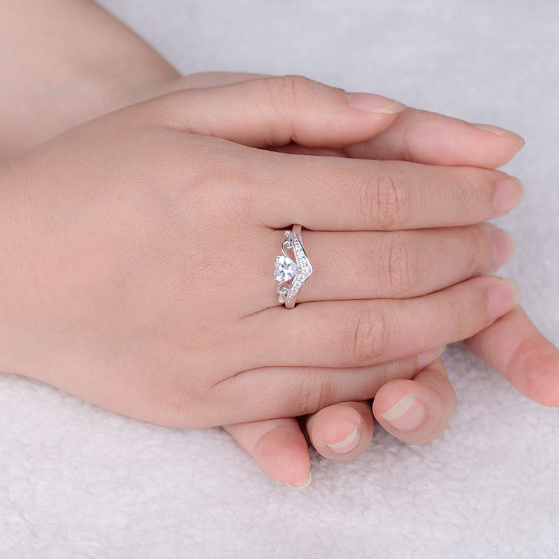 ID:R0008 Women 18K White Gold GF On .925 Sterling Silver Vintage Jewelry Engagement Wedding Bridal Crown Ring