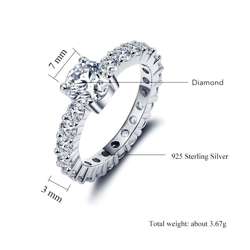 ID:R0013 Women 18K White Gold GF On .925 Sterling Silver Vintage Jewelry Engagement Wedding Bridal Ring