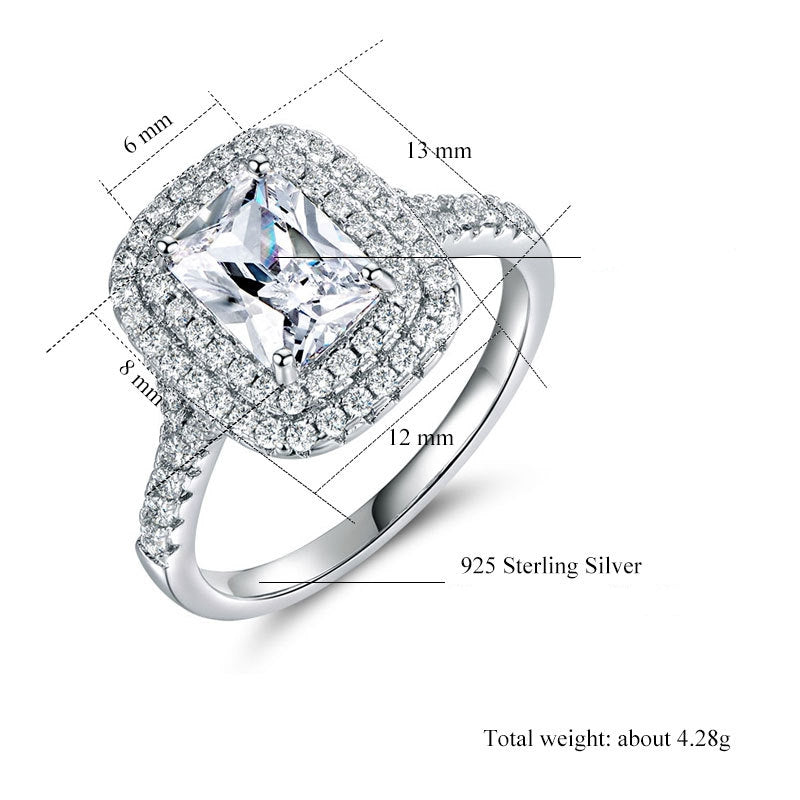 ID:R0021 Women 18K White Gold GF On .925 Sterling Silver Vintage Jewelry Engagement Wedding Bridal Ring
