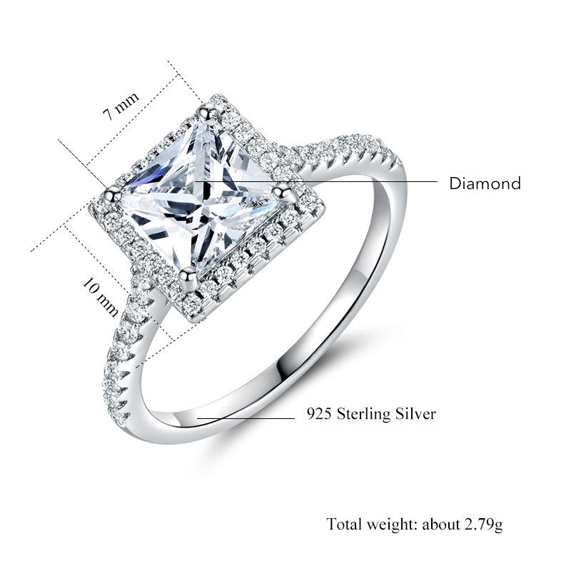 ID:R0022 Women 18K White Gold GF On .925 Sterling Silver Vintage Jewelry Engagement Wedding Bridal Ring