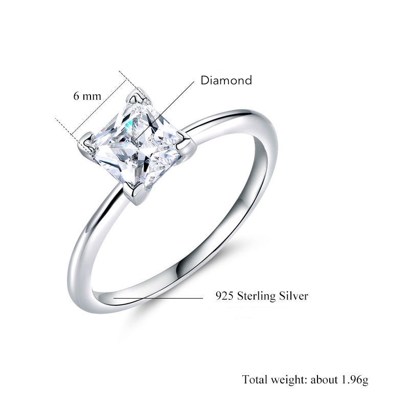 ID:R0026 Women 18K White Gold GF On .925 Sterling Silver Vintage Jewelry Engagement Wedding Solitaire Bridal Ring