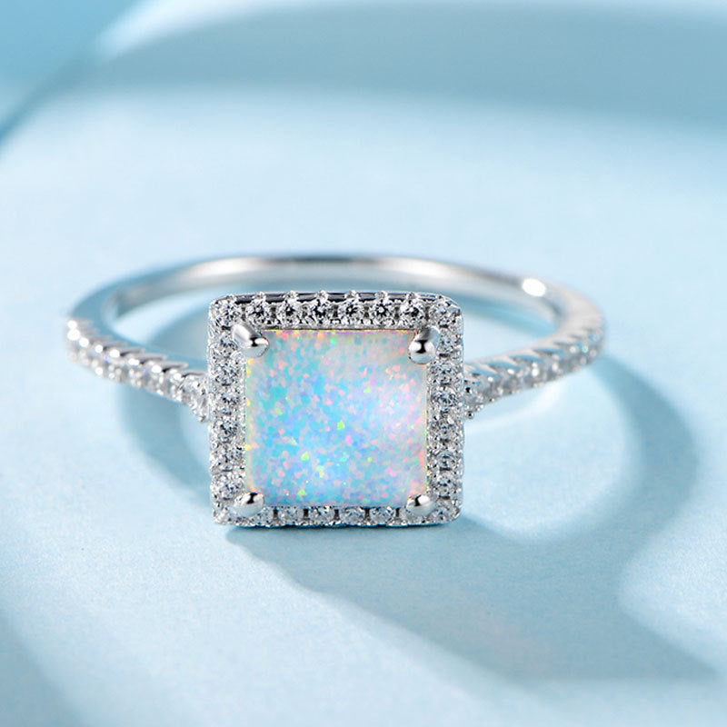 ID:R0060 Women 18K White Gold GF On .925 Sterling Silver Vintage Jewelry Solitaire Opal Cocktail Ring With Accent