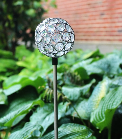 Solar Garden Yard Decor Crystal Glass Ball Light OutdoorLandscape Lawn Pathway Color Change LED Lamp