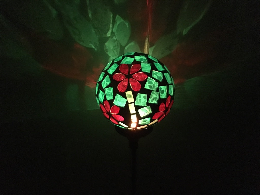 Solar Garden Yard Decor Flower Glass Ball Light Outdoor Lawn Pathway Multi-Color Changing LED Lamp