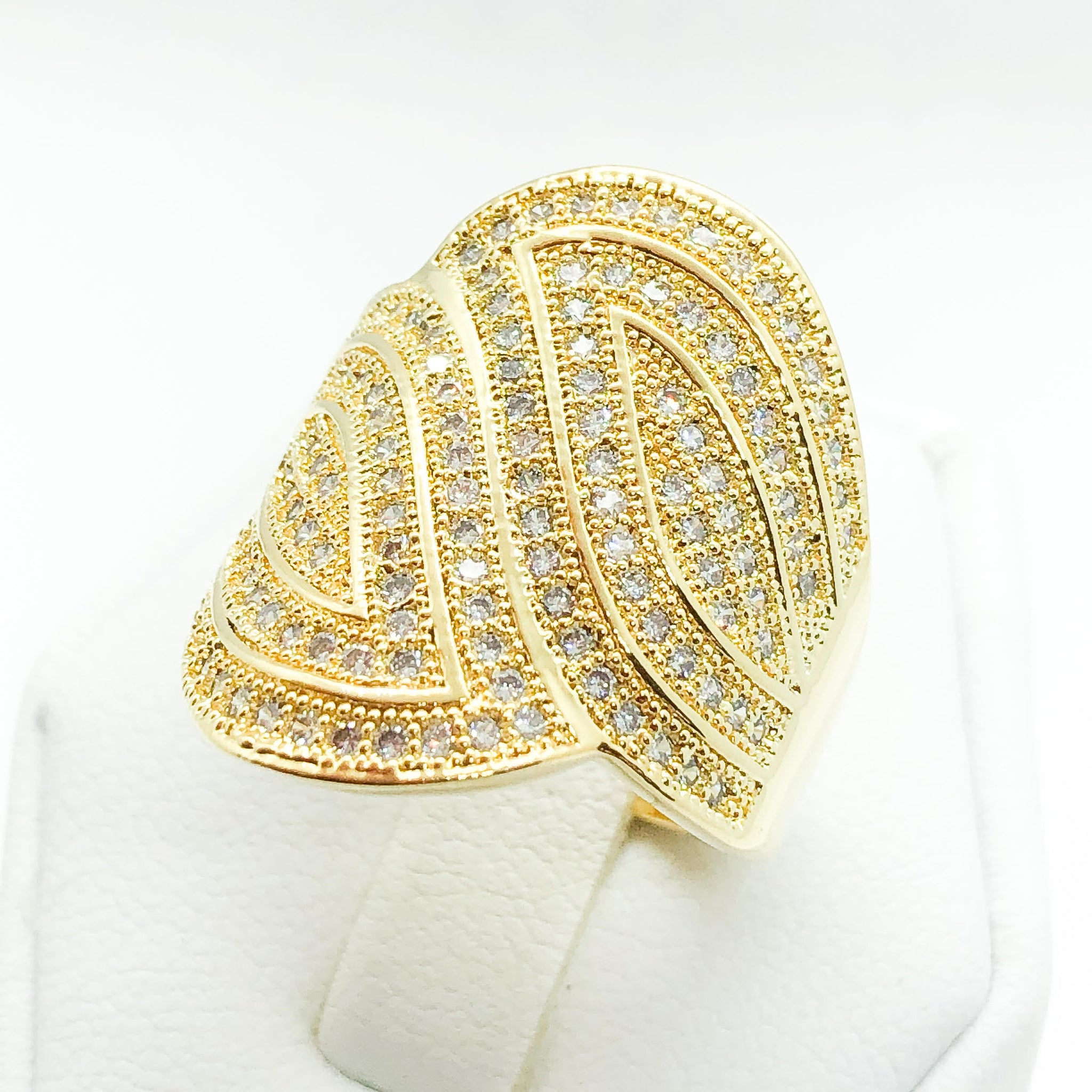 ID:R6358 Women 18K Yellow Gold GF Fashion Jewelry Leaves Design Anniversary Promise Eternity Ring