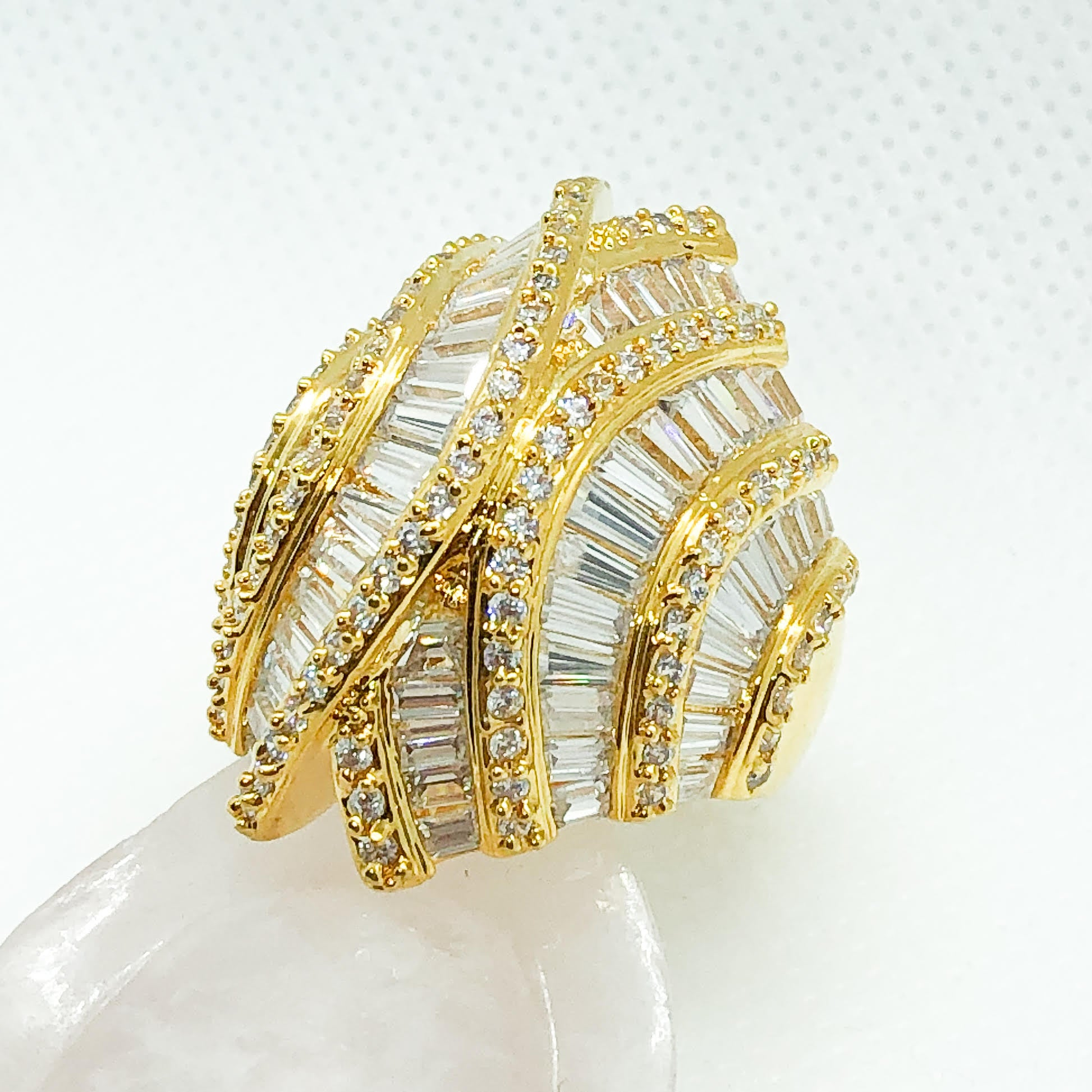 ID:R5005 Women 18K Yellow Gold GF Fashion Jewelry Incredible Unique Design Cocktail Gemstone Ring Promise Gift
