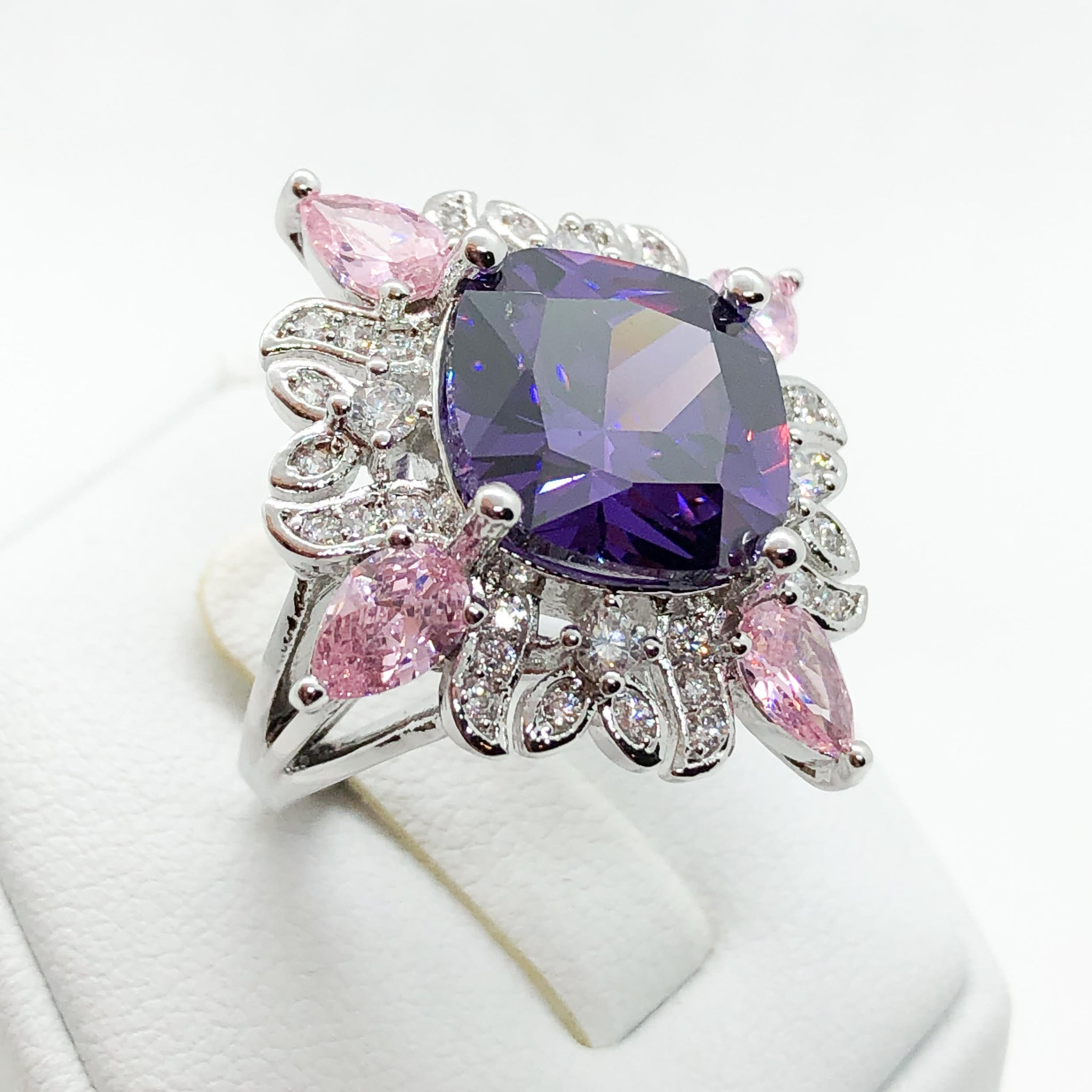ID:R6963 Women 18K White Gold GF Fashion Jewelry Cool Big Amethyst Multi-color stones Cocktail Ring