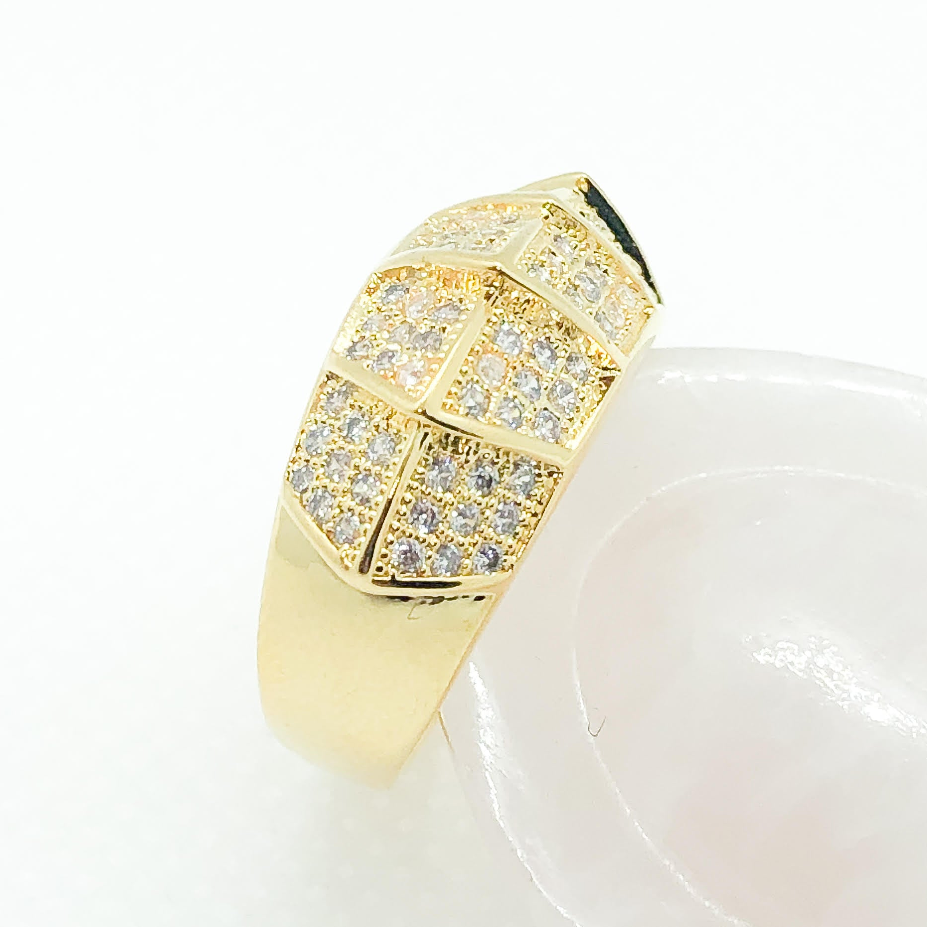 ID:R6439 Women 18K Yellow Gold GF Fashion Jewelry Promise Gift Unique Clear Gemstones Cocktail Ring