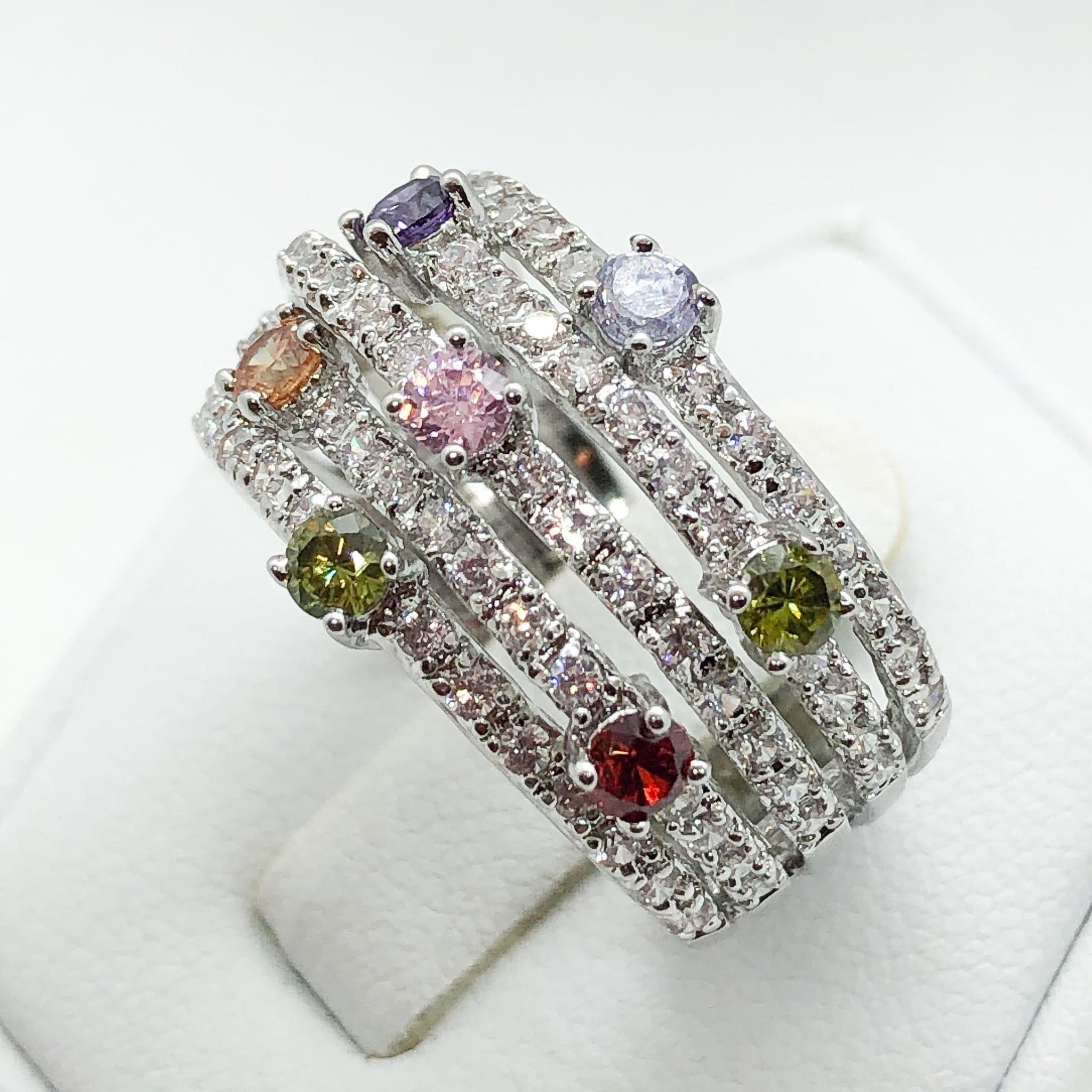 ID:R4858 Women 18K White Gold GF Innovative Fashion Jewelry Color Crystal Gemstones Cocktail Band Ring Anniversary Promise Gift