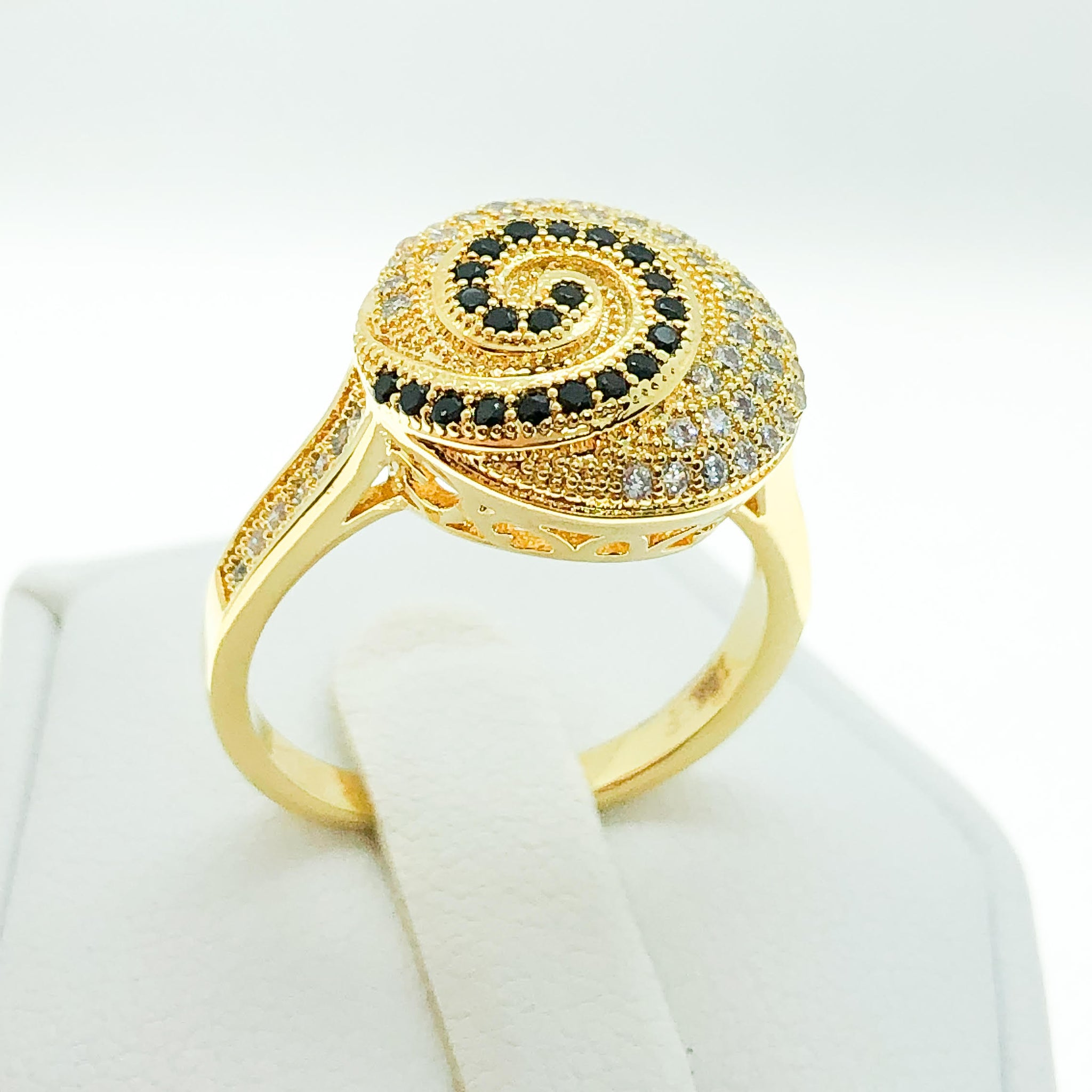 ID:R6454 Women 18K Yellow Gold GF Fashion Jewelry Unique Design Clear & Black Gemstones Eternity Dome Ring