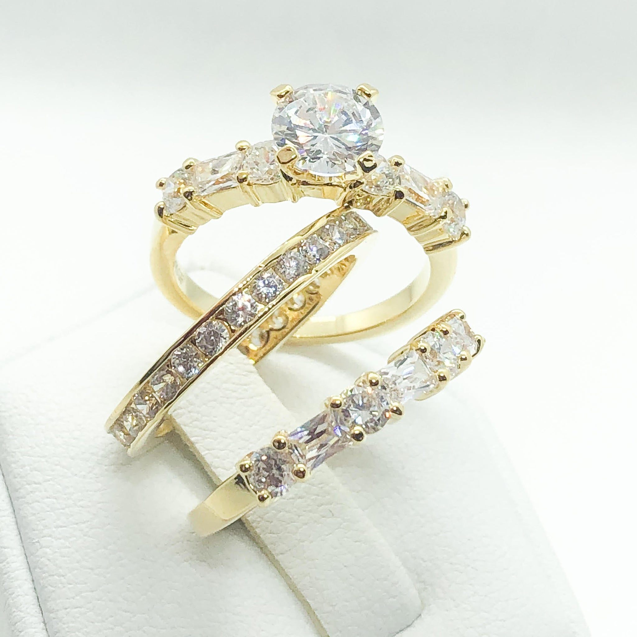ID:R5593 Women 18K Yellow Gold GF Hand-Crafted Vintage Jewelry Eye-Catching Engagement Wedding Bridal Band Ring 3pcs/Set