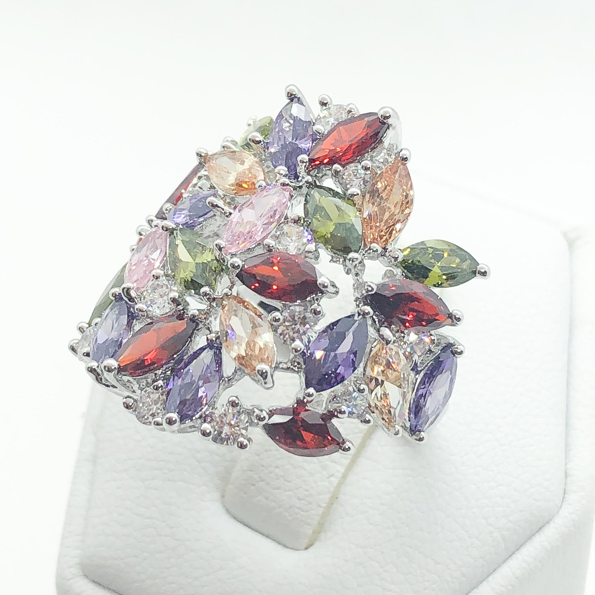 ID:R5818 Women 18K White Gold GF Fashion Jewelry Multi-Color Gemstone Unique Cluster Ring Promise Anniversary Gift