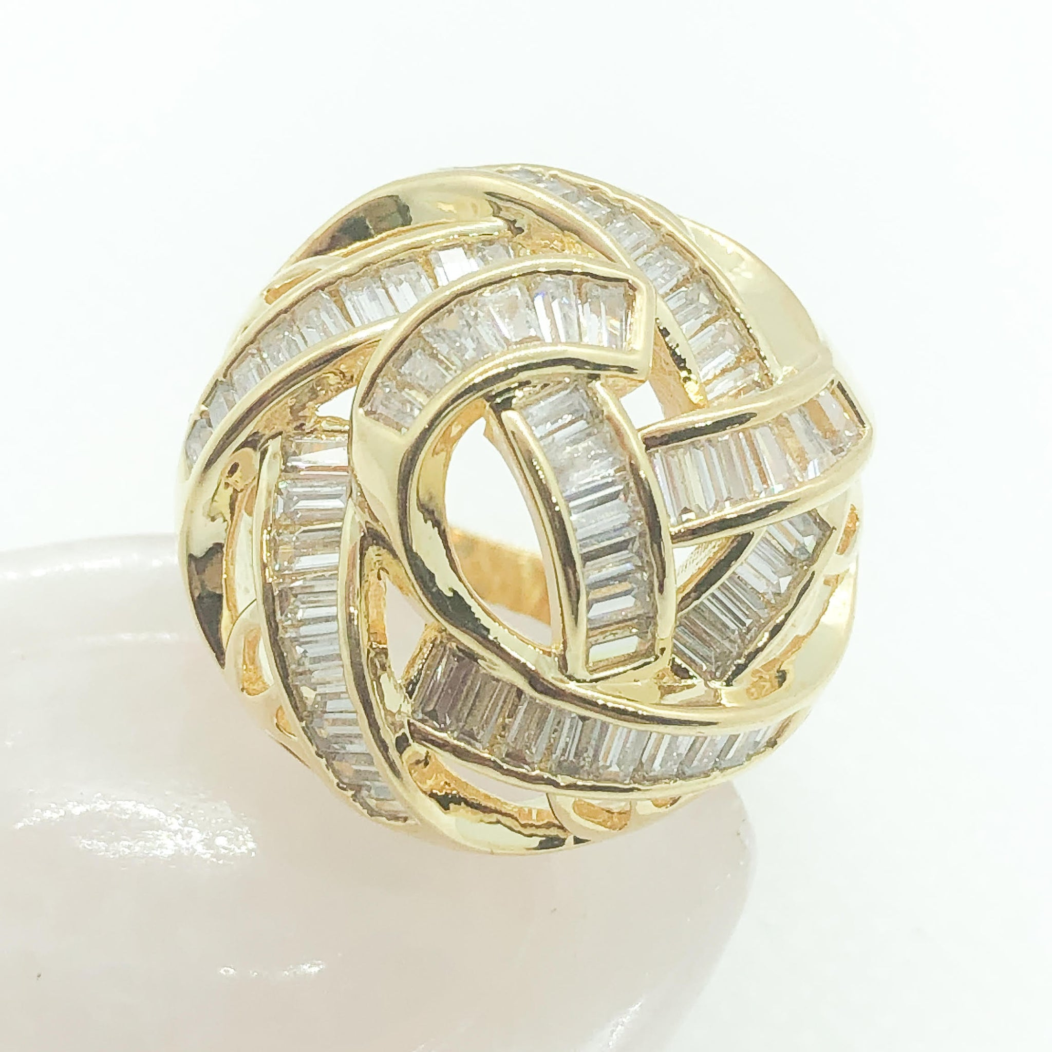 ID:R7511 Women Jewelry 18K Yellow Gold GF Shimmering Eye-Catching Clear Baguette Stones Unique Dome Eternity Ring