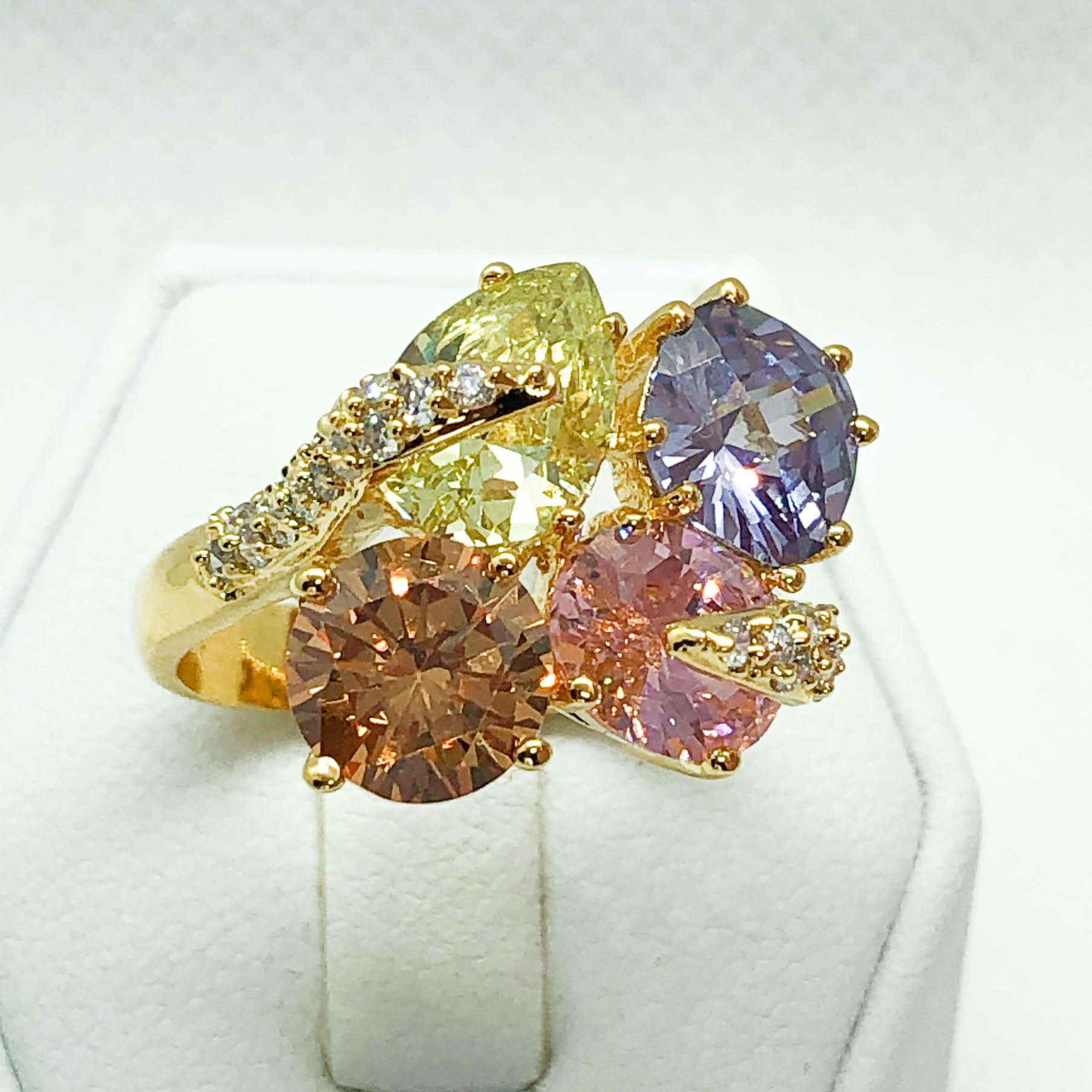 ID:R4738 Women 18K Yellow Gold GF Fashion Jewelry Stunning Color Gemstones Cluster Cocktail Ring Anniversary Gift