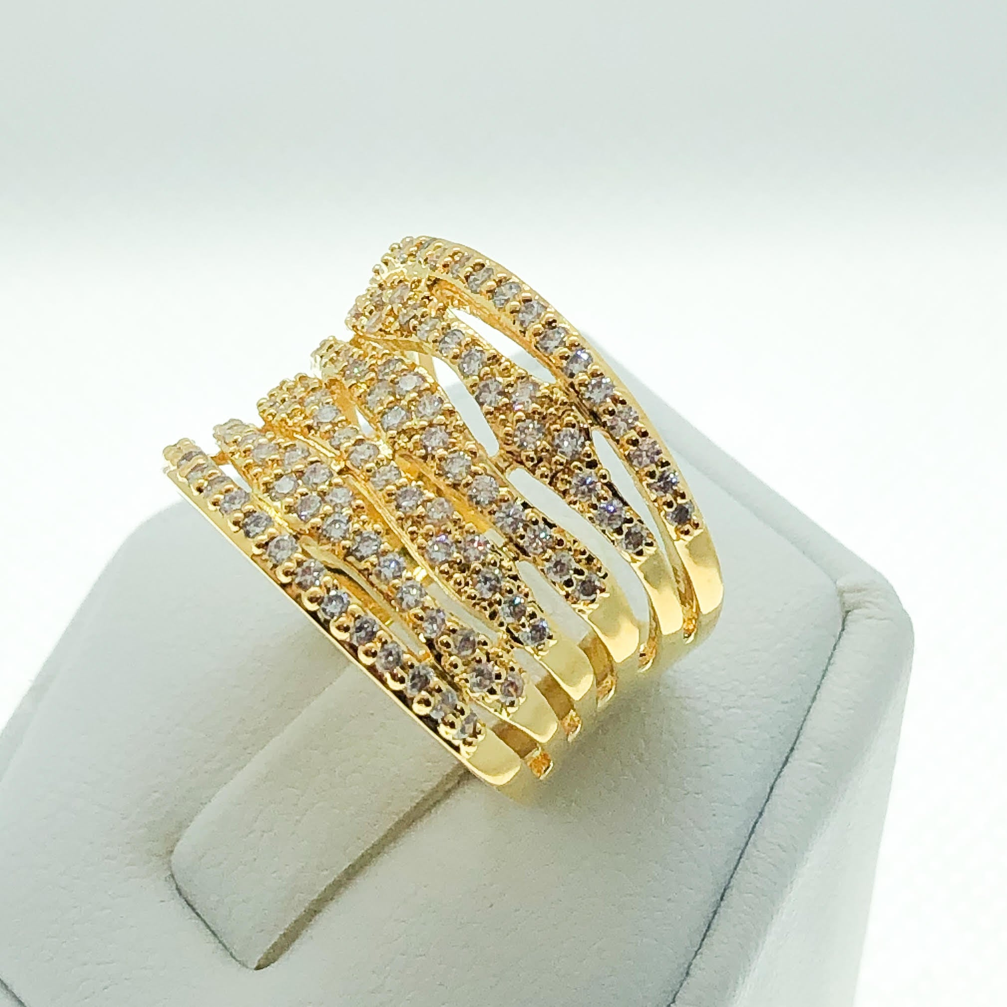 ID:R7288 Women Jewelry 18K Yellow Gold GF Stunning Clear Round Stone Anniversary Eternity Ring