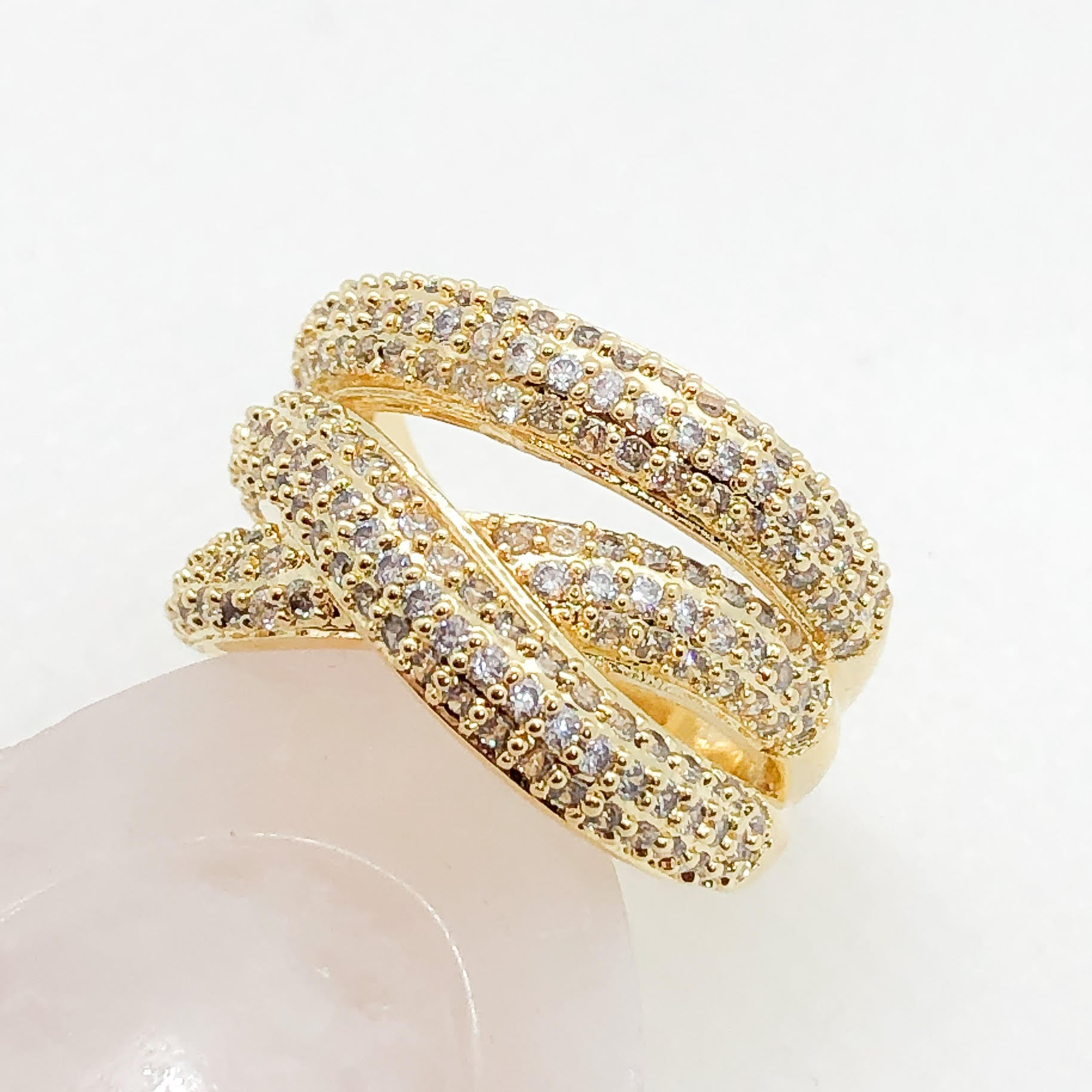 ID:R7550 Women Jewelry 18K Yellow Gold GF Sparkling Clear Stones Eternity Expensive-Looking Engagement Wedding Band Ring